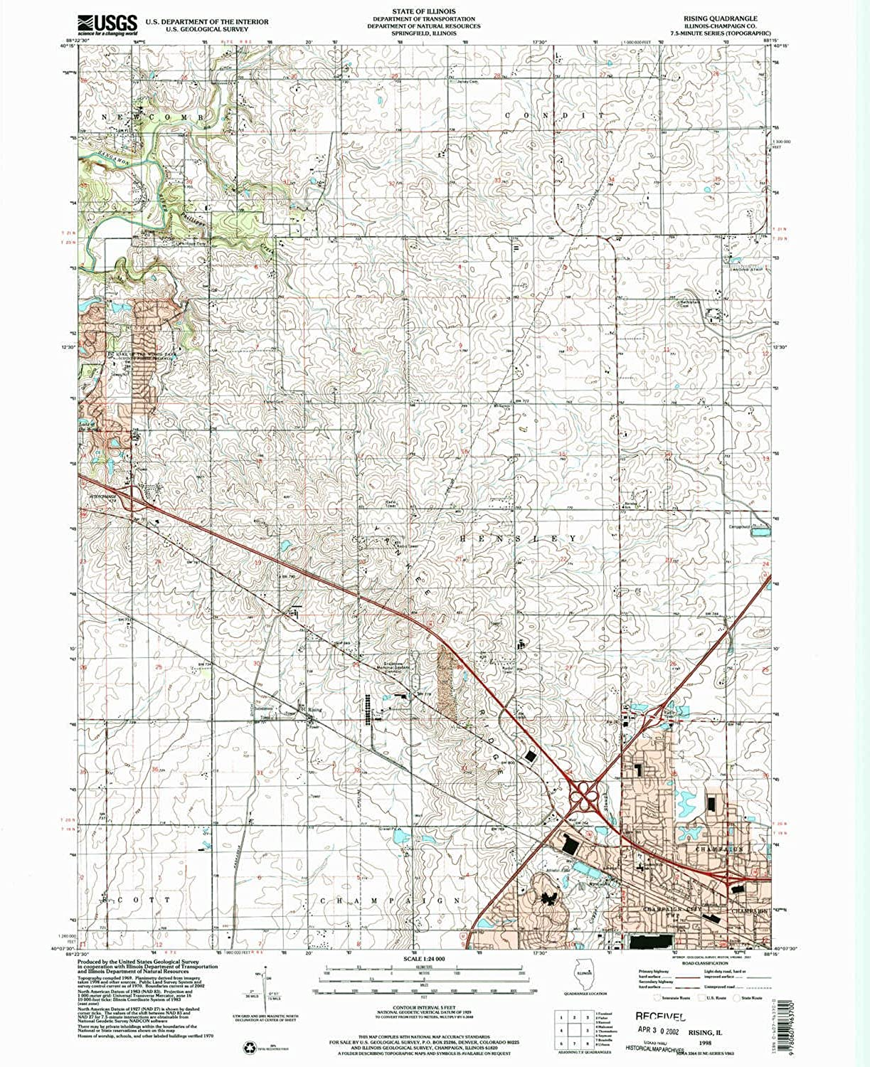 Rising IL topo map, 1 24000 Scale, 7.5 X 7.5 Minute, Historical, 1998, Updated 2001, 26.9 x 21.9 in