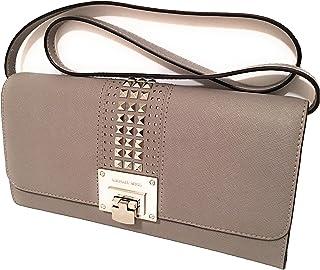 MICHAEL KORS TINA STUD Flap Clutch Shoulder Bag In Pearl Grey