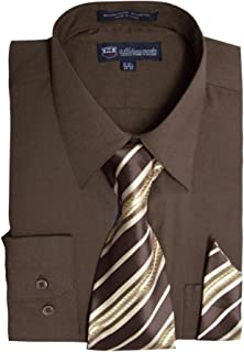 Men's Long Sleeve Dress Shirt With Matching Tie And Handkerchief SG21A