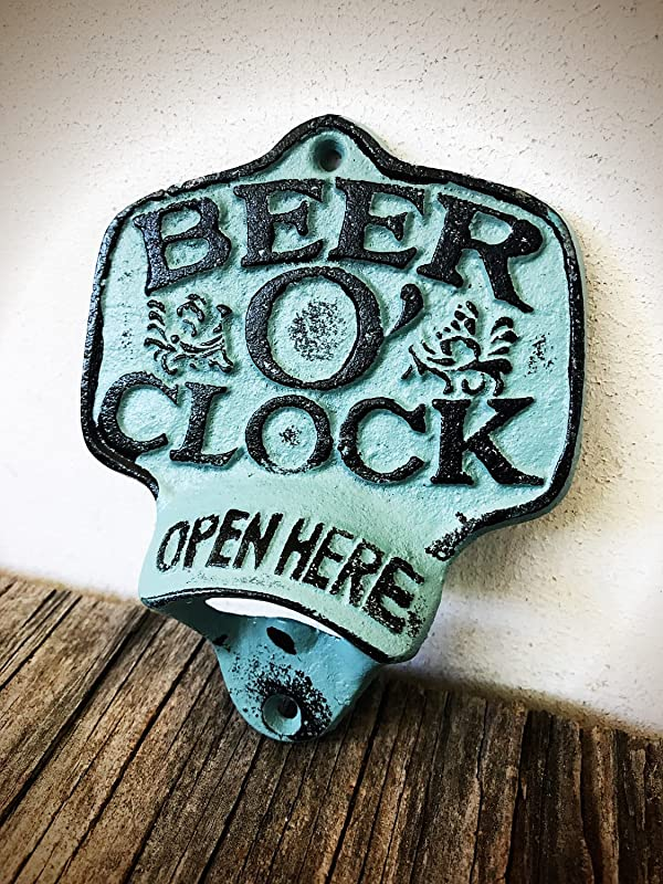 Rustic Patina Beer O Clock Wall Mount Bottle Opener Durable Cast Iron Unique Bar D Cor Men S Stocking Stuffer