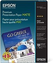 Epson Premium Presentation Paper MATTE (8.5×11 Inches, 100 Sheets) (S042180),Black