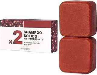 Shampoo Solido Bio Ristrutturante e Nutriente al Melograno, Fico e Te Verde 130 g - Enooso - 100% Artigianale Biologico Na...
