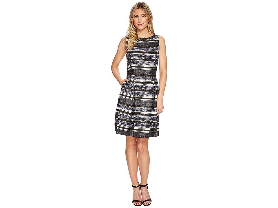 Adrianna Papell Herringbone Stripe Fit and Flare (Navy/Black Multi) Women