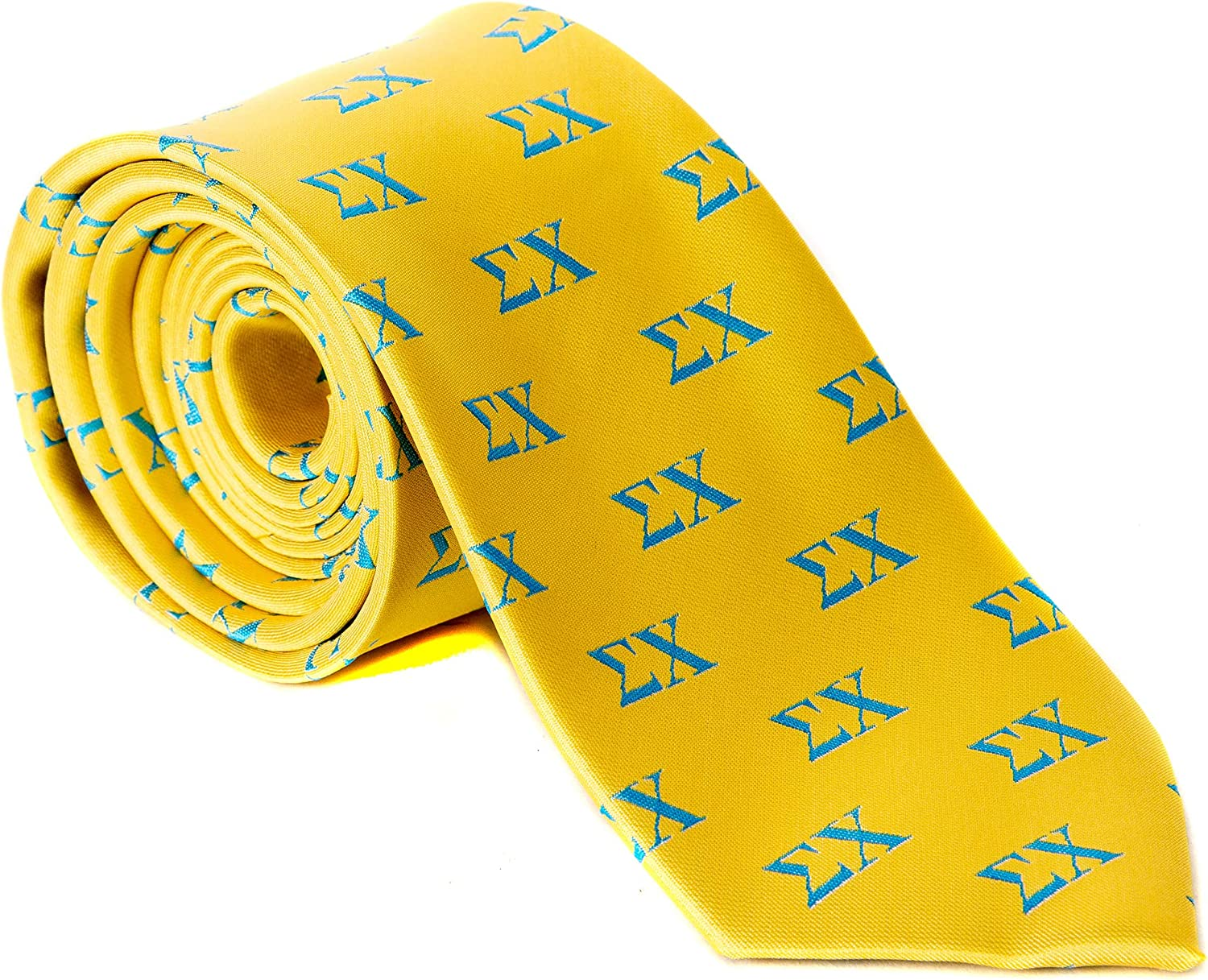 Sigma Chi Yellow Background Fraternity Tie Greek Formal Occasion Standard Length Width Sig Chi (Letter Necktie)
