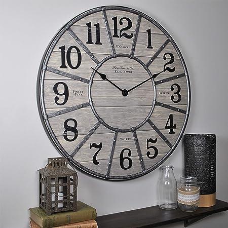 Amazon Com Howard Miller Aviator Gallery Wall Clock 625 629 Oversized Aluminum With Quartz Movement Furniture Decor