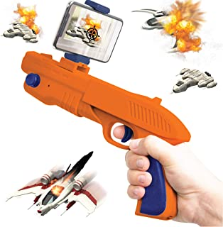 SHARPER IMAGE Augmented Virtual Reality Toy Blaster, Complete Video Gaming System, Connects to Smartphone via Bluetooth, Use with Free AR App, Games for Teens and Kids, Orange/Blue
