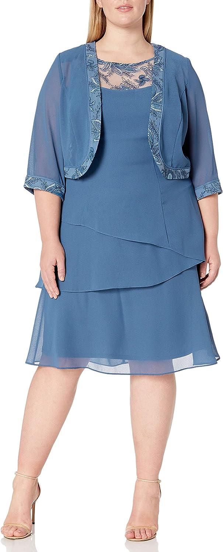 Le Bos Women's Size Tiered Jacket Dress Plus