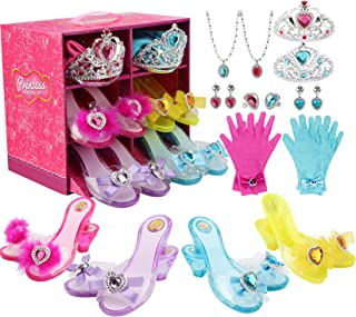 LOSLANDIFEN Girls Princess Dress up Shoes Set and Fashion Jewelry Accessories Little Girl Role Play Shoes Collection Set f...