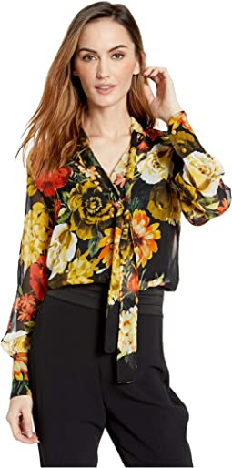 Still Life Floral Button Front Shirt with Tie Detail