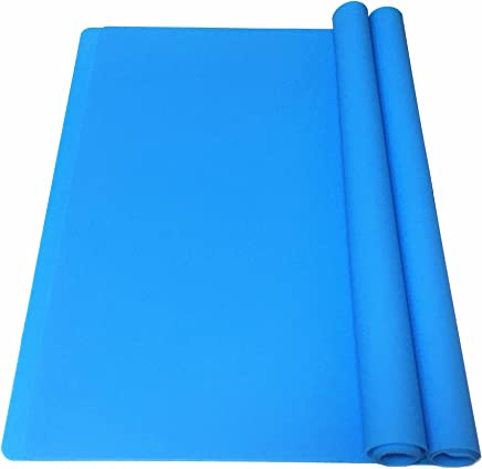 EPHome 2Pack Extra Large Multipurpose Silicone Nonstick Clay Mat,  Heat Resistant Nonskid Counter Mat,  Table Mat,  23.6''15.75'' (Blue)
