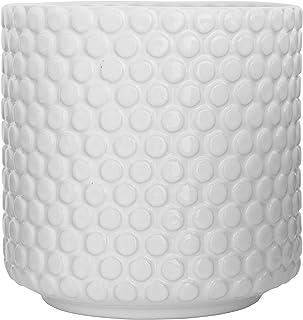 "Bloomingville Stoneware Pot with Raised Polka Dot Design, 6"", White"