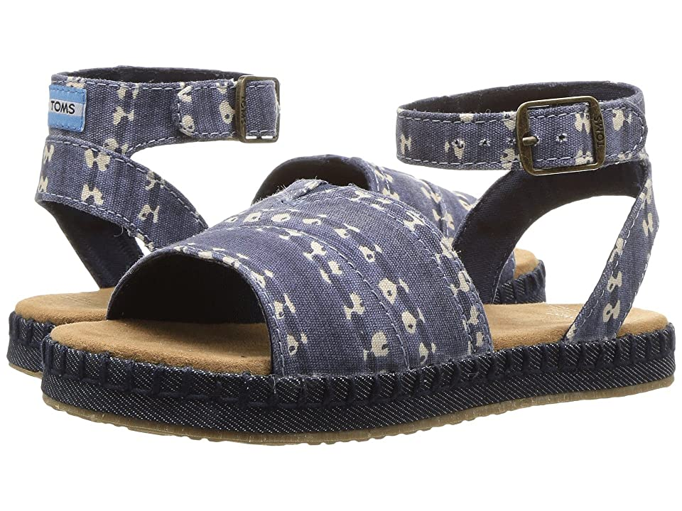 TOMS Kids Malea Sandals (Little Kid/Big Kid) (Navy Batik Stripe) Girls Shoes