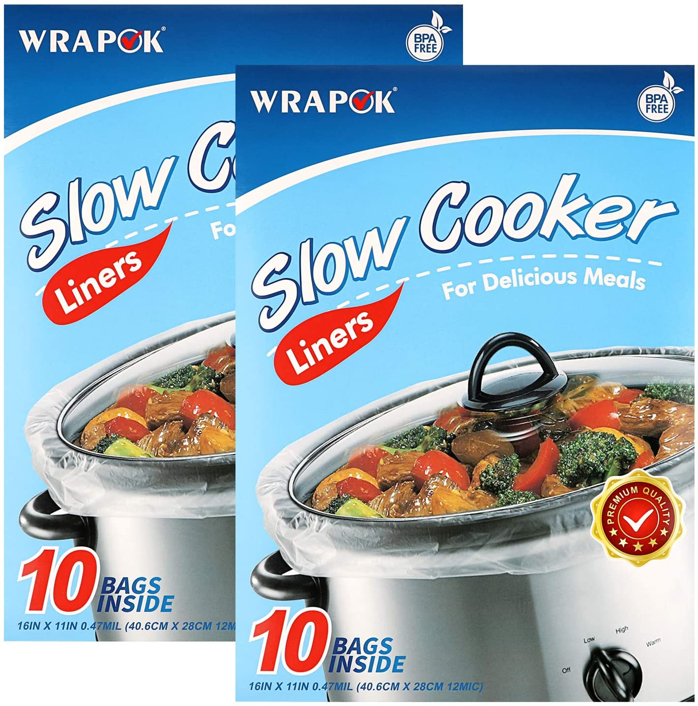 WRAPOK Small Slow Cooker Liners Kitchen Disposable Cooking Bags BPA Free for Oval or Round Pot, Size 11 x 16 Inch, Fits 1 to 3 Quarts - 2 Pack (20 Bags Total)