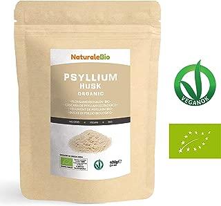 Cáscara de Psyllium Ecológico [99% Pureza] 400g   Psyllium Husk, Natural y Puro   100% cutícula de semillas de Psilio Orgánico, producido en India. Rico en Fibra, para añadir al Agua, Bebidas y Zumos.