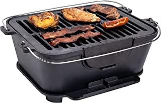 """Bruntmor Heavy Duty Pre-Seasoned Cast Iron Grill, 14"""" x 12-Inch Grilling Surface, Outdoor & Indoor Hibachi-Charcoal Grill,..."""