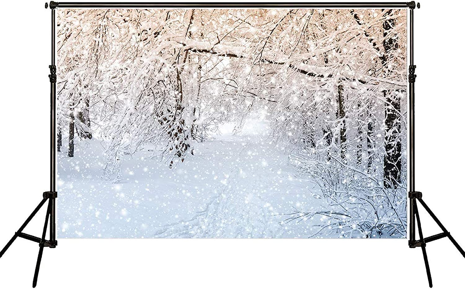 Bephtoer 7x5ft Soft Fabric Winter Froest Wonderland Backdrops for Photography White Frozen Snowflake Christmas Backgrounds Photo Wedding Children Portrait Background Shooting