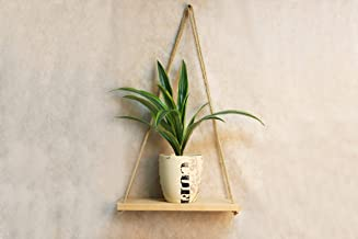Wood Hanging Shelf Indoor - Wooden Wall Planter Roper Holder Potted Floating Shelves White - 14 x 6 Inch Mid Century Modern Plant Stand - Vintage Farmhouse Small Minimalist Grandma Mothers Day Gift