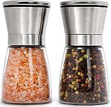 Home EC - Juego de molinillos de sal y pimienta de acero inoxidable rellenables – cortos, de vidrio, con grosor del grano ...