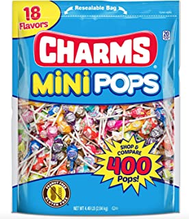 Tootsie Roll Charms Mini Pops 18 Assorted Lollipop Flavors with Resealable Trick or Treat Halloween Candy Bag (400 Count) Peanut Free, Gluten Free
