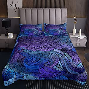 Feelyou Blue Octopus Mandala Bedspread Decor Abstract Flowers Pattern Coverlet Purple Blue Exotic Floral Bedding Cover Bedroom Collection 3Pcs King Size