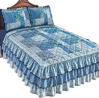 Collections Etc Heartland Quilted Floral Ruffle Bedspread, Blue Multi, King