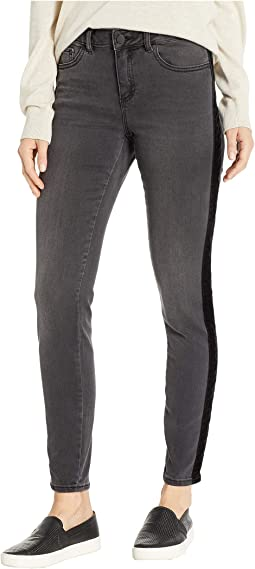 Velvet Trim Five-Pocket Skinny Jeans in Coal Wash