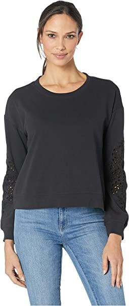 Cotton Interlock Sweatshirt with Embroidered Sleeves
