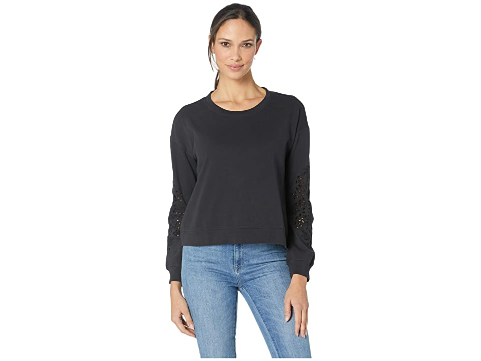 Mod-o-doc Cotton Interlock Sweatshirt with Embroidered Sleeves (Black) Women