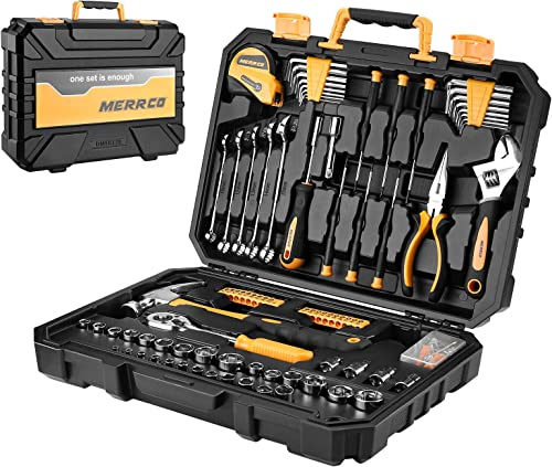 popular MERRCO 128 Piece Tool Set Socket Wrench Auto Repair Mixed Tool lowest Combination 2021 Package Hand Tool Kit with Plastic Toolbox Storage Case outlet sale