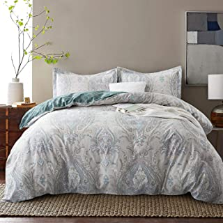 JUCFHY Damask Medallion Luxury King Size Duvet Cover Boho Paisley Print Everett Bedding Collections 600 Thread Count Cotton Reversible Duvet Cover Set 3 Piece with Zipper Closure