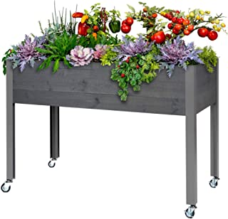 "CedarCraft Elevated Spruce Planter – Dark Gray (21"" x 47"" x 32"
