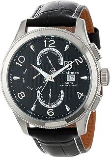 S. Coifman Men's SC0105  Black Textured Dial Black Leather Watch