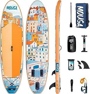 Mousa Inflatable Paddle Board, 11' x 34'' x 6'' Dual Player Paddle Boards for Adults, 3-Fin & Floatable Paddle Non Slip De...