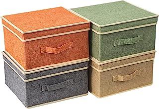BrilliantJo Boîtes de Rangement avec Couvercles, Panier de Rangement Pliable pour Vêtements Jouets Livres Placard Chambre ...