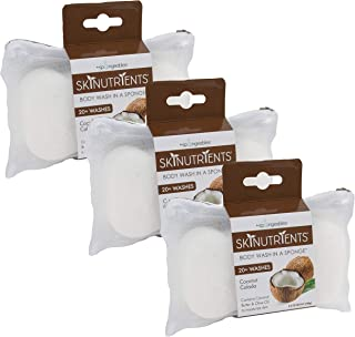 Spongeables Skinutrients Moisturizing Body Wash in a Sponge, Coconut Colada, With Bonus Travel Bag, 20+ Washes, Pack of 3