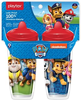 Playtex Sipsters Stage 3 Paw Patrol Spill-Proof, Leak-Proof, Break-Proof Spout Cup for Boys, 9 Ounce (Pack of 2)