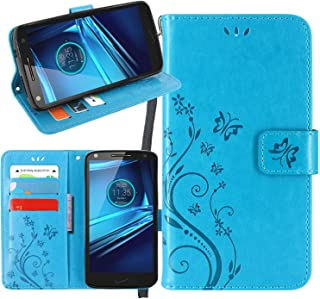 Moto Droid Turbo 2 Case, Linkertech [Kickstand Feature] PU Leather Wallet Flip Pouch Case Cover With Wrist Strap & Card Slots For Motorola Droid Turbo 2 / Moto X Force (C-5)