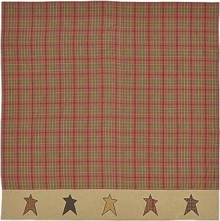VHC Brands Primitive Bath Sutton Rod Pocket Cotton Button Holes Hooks Appliqued Star Shower Curtain, 72 x 72, Orange Red