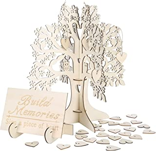 Wedding Guest Visit Sign Book 3D Wooden Sign Book Rustic Hearts Pendant Drop Ornament for Party Decor