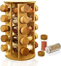 """Rotating Spice Organizer With 16 Jars,Portable Round Seasoning Organizer,Spice Jars With Rack Wood 11.8"""" Gold Cap Never Fa..."""