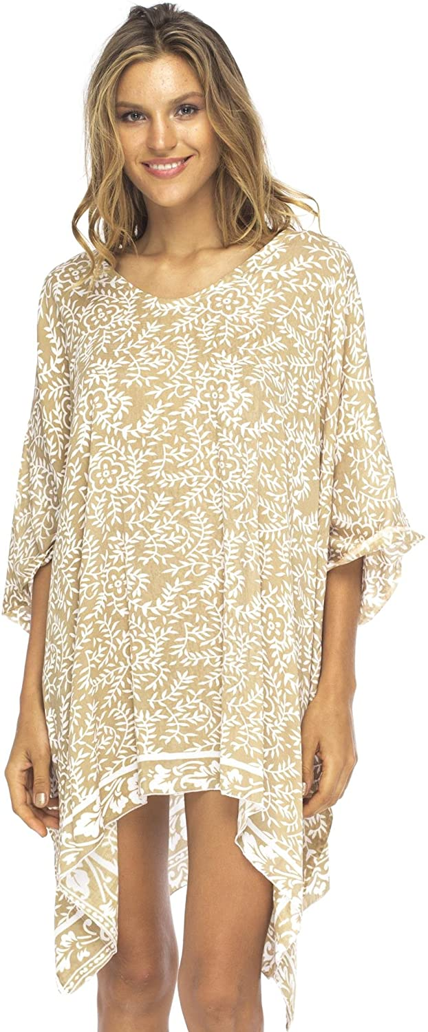 Back From Bali Womens Short Beach Swimsuit Cover Up Dress Caftan Poncho Floral