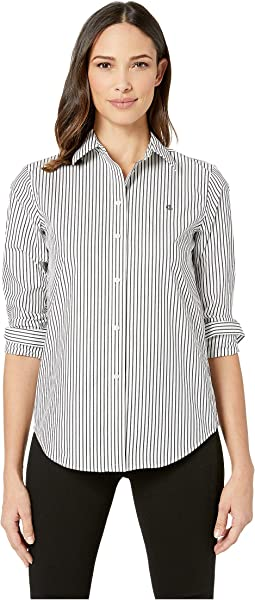 Embroidered Striped Button Down Shirt