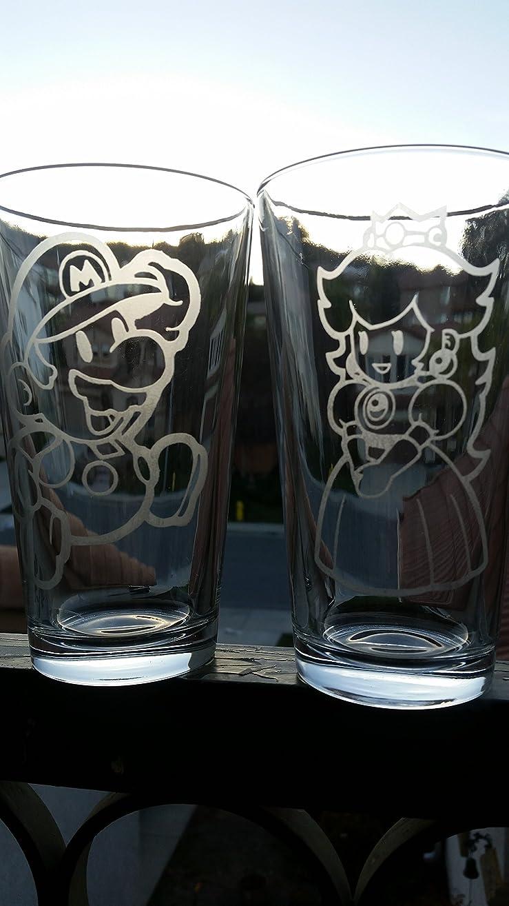 Mario Princess Peach Super Mario Brothers Pint Glass Set Beer Cups 16 oz
