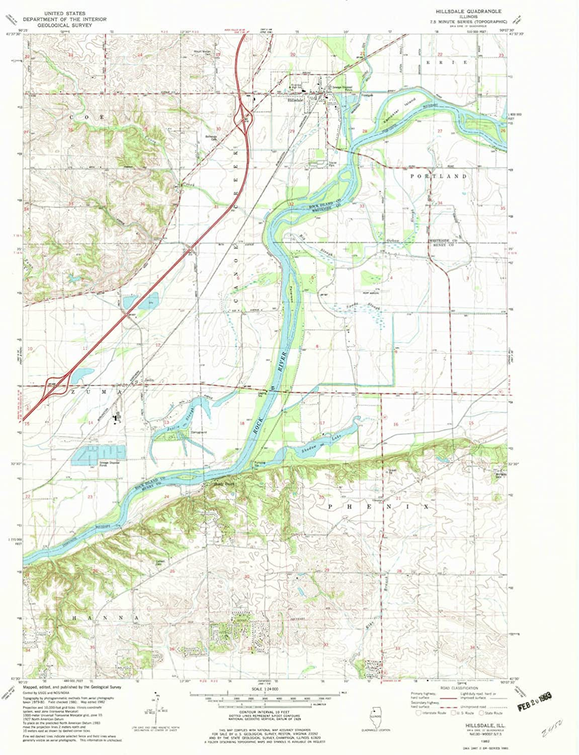 Hillsdale IL topo map, 1 24000 Scale, 7.5 X 7.5 Minute, Historical, 1982, Updated 1982, 26.7 x 21.9 in