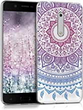 kwmobile Clear Case Compatible with Nokia 5 - TPU Smartphone Backcover - Indian Sun Blue/Dark Pink/Transparent