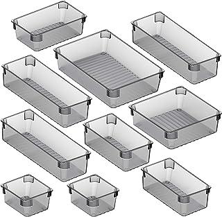 Puroma 10-pcs Desk Drawer Organizer Trays, 5 Different Sizes Large Capacity Plastic Bins Kitchen Drawer Organizers Bathroo...