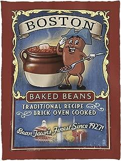 Lantern Press Boston, Massachusetts - Baked Beans Vintage Sign 40622 (60x80 Poly Fleece Thick Plush Blanket)