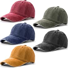 Norme 5 Pieces Unisex Vintage Washed Distressed Baseball Hat Baseball Cap Twill Adjustable Dad Hat