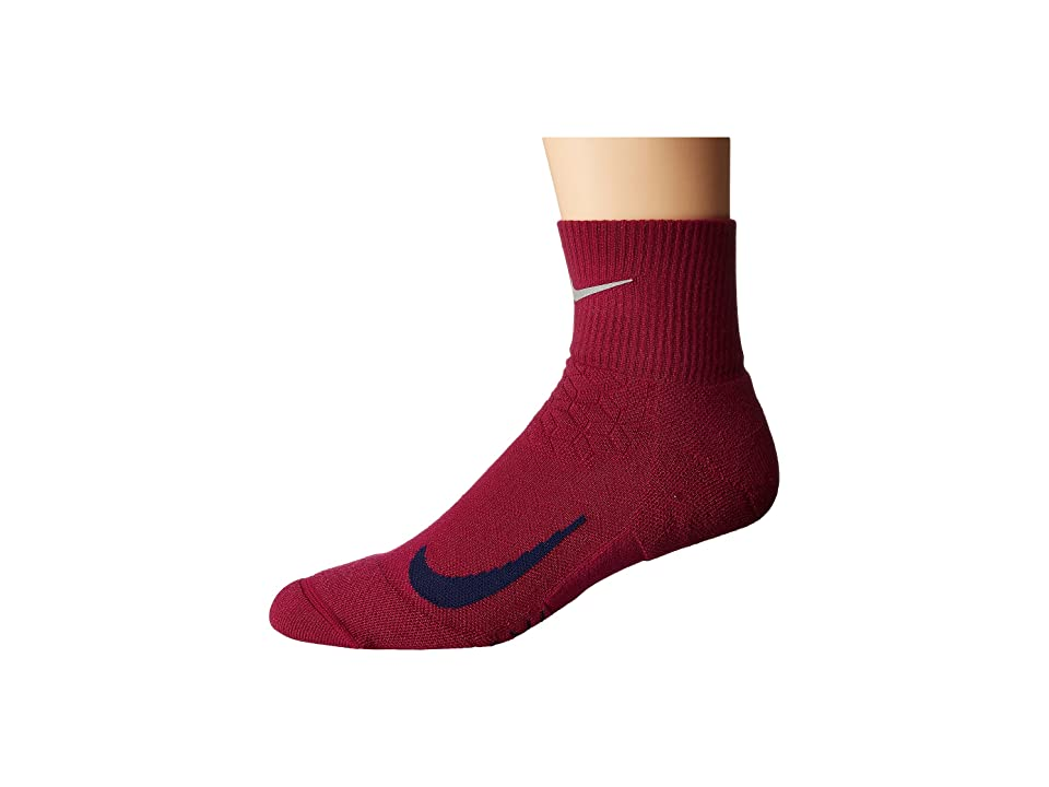 Nike Elite Cushion Quarter Running Socks (True Berry/Binary Blue) Quarter Length Socks Shoes