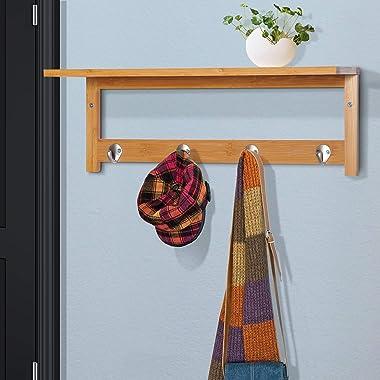 "HOMCOM 20"" Wall-Mounted Entryway Coat Rack Bamboo Wall Shelf Organizer with 4 Hooks"